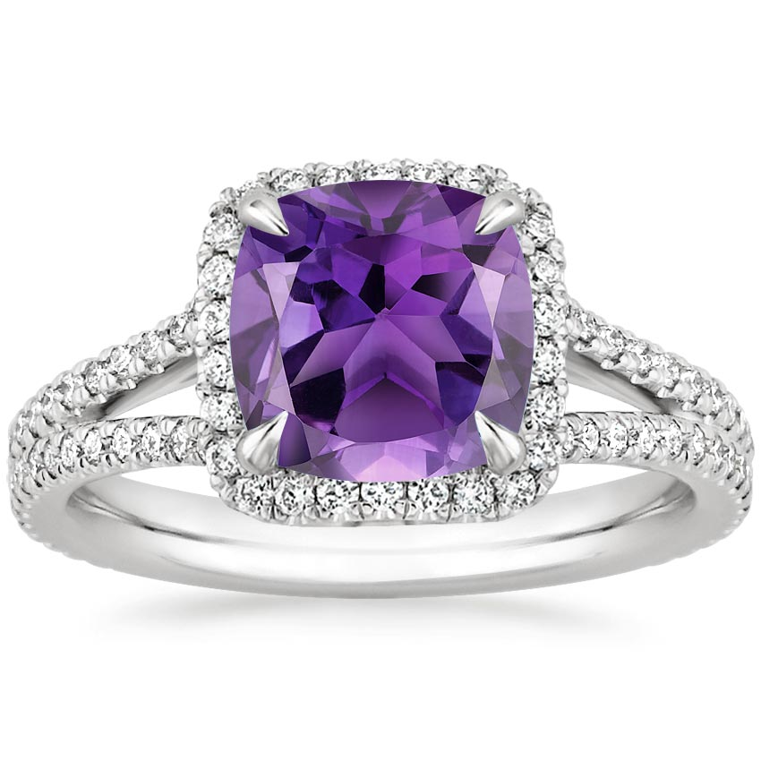 Amethyst Fortuna Ring 1 2 Ct Tw In 18k White Gold