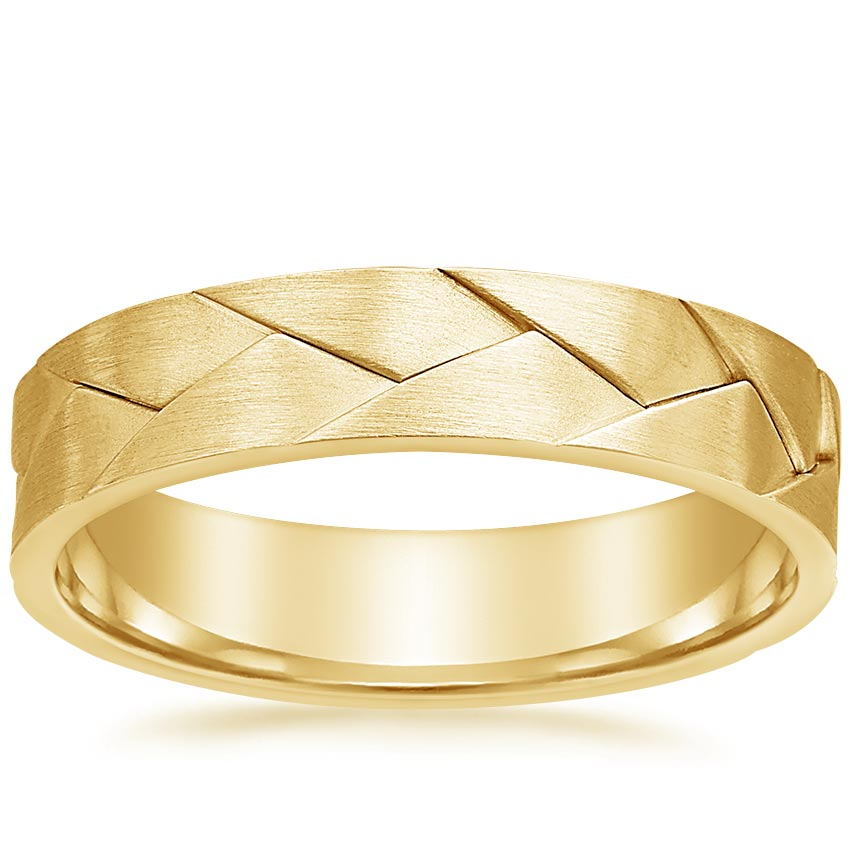Yellow Gold Woven Men's Wedding Ring