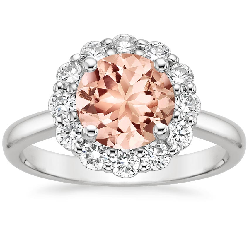 Morganite Lotus Flower Ring in 18K White Gold