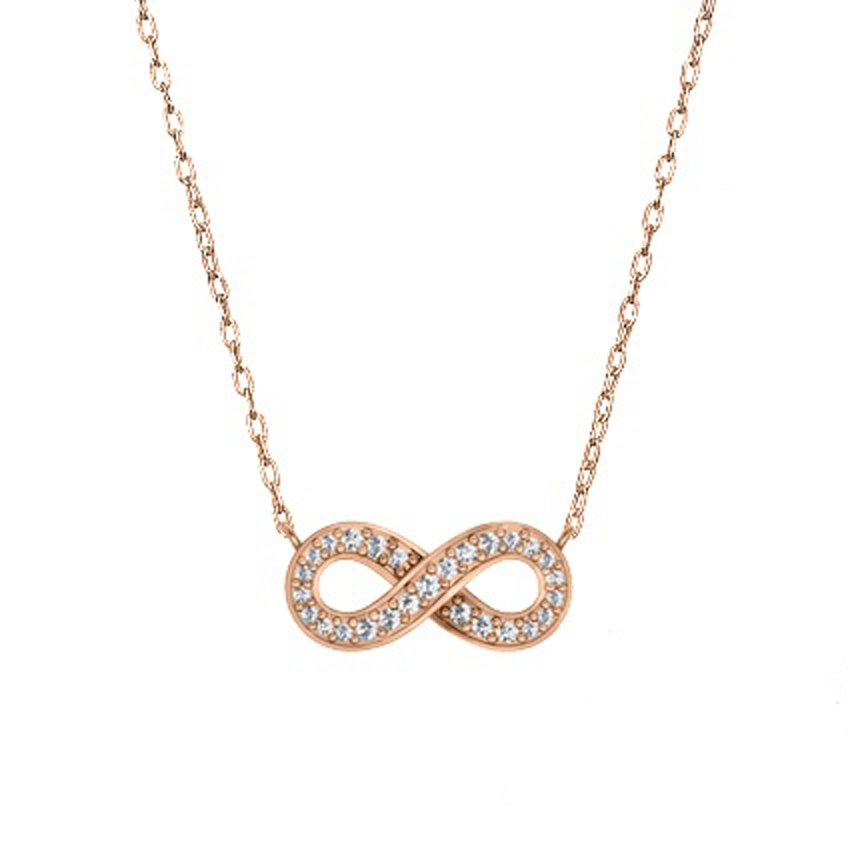 14K Rose Gold Pavé Diamond Infinity Pendant, top view