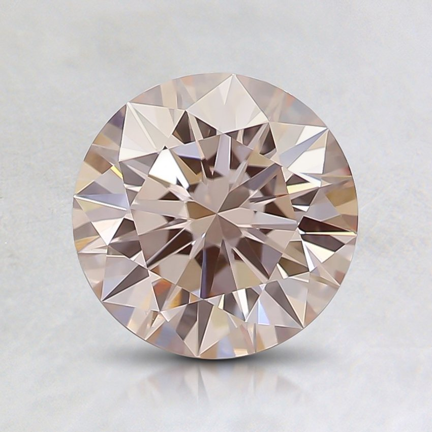 1.06 Ct. Fancy Light Orangy Pink Round Lab Created Diamond