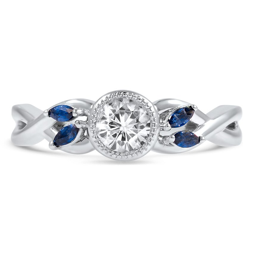 Custom Sapphire Accented Bezel Set Diamond Ring