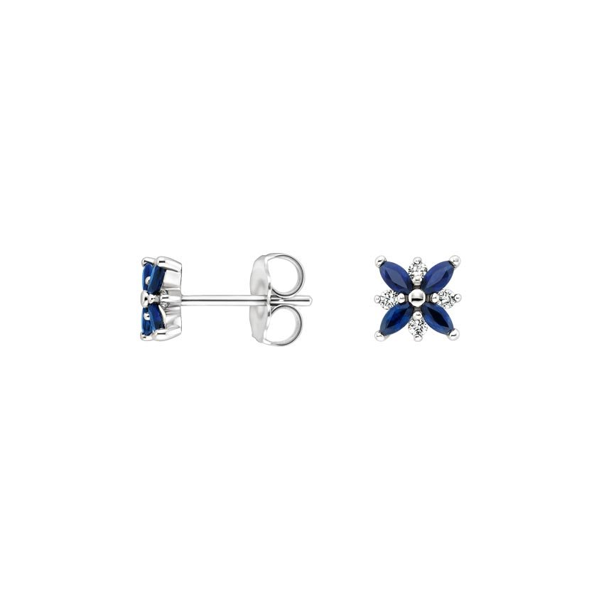 Top Twenty Gifts - 18K WHITE GOLD SAPPHIRE AND DIAMOND PETAL EARRINGS