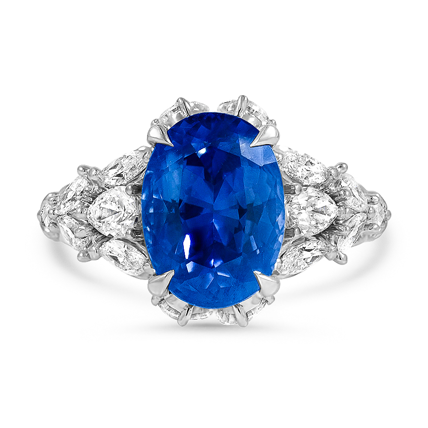 Custom Feathered Shoulder Sapphire and Diamond Ring