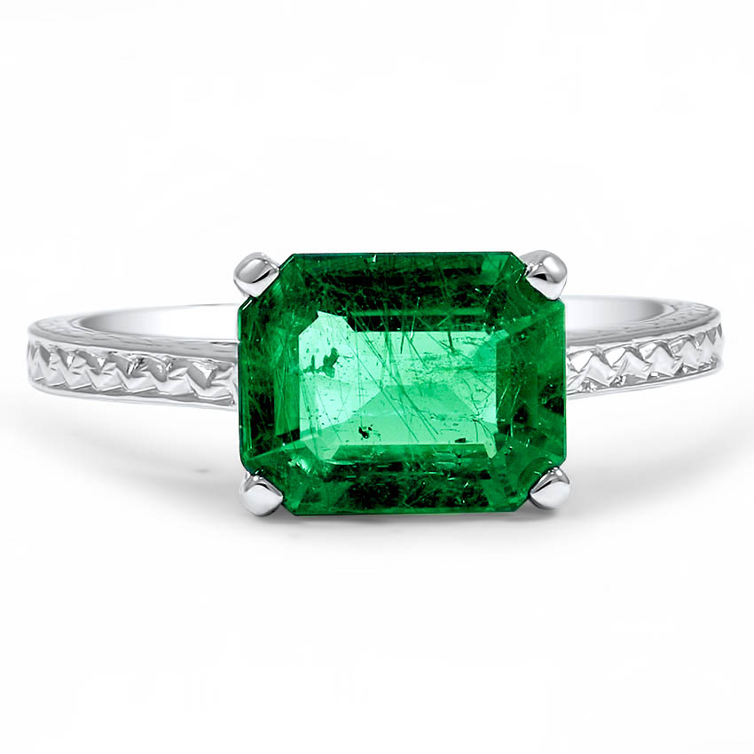 Custom Filigree and Hand Engraved Emerald Ring