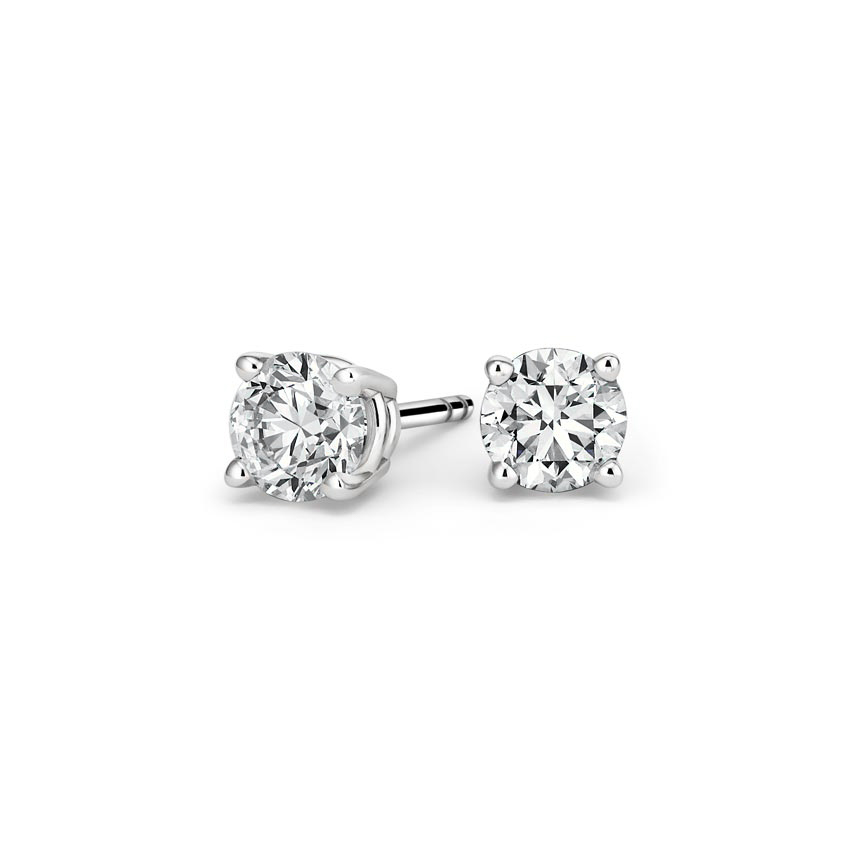 Platinum Four-prong Round Diamond Stud Earrings, top view