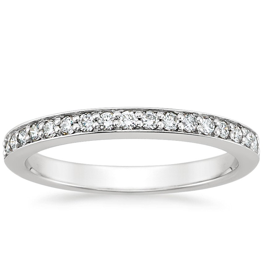 18K White Gold Classic Pavé Diamond Ring (1/4 ct. tw.), top view