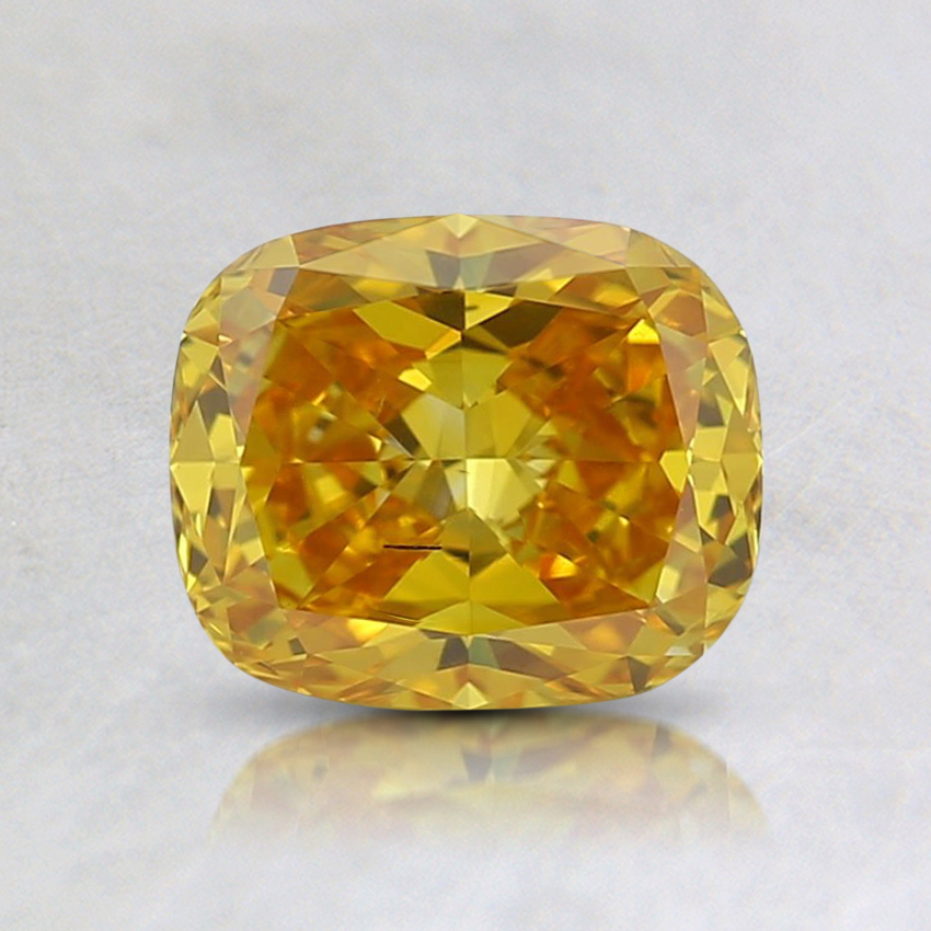 0.90 Ct. Fancy Vivid Orangy Yellow Cushion Lab Created Diamond