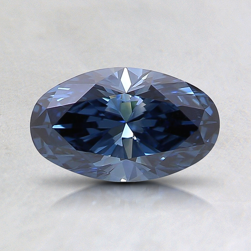 0.66 Ct. Fancy Intense Blue Oval Lab Created Diamond