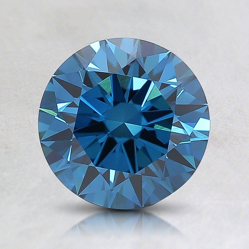1.27 Ct. Fancy Deep Greenish Blue Round Lab Created Diamond