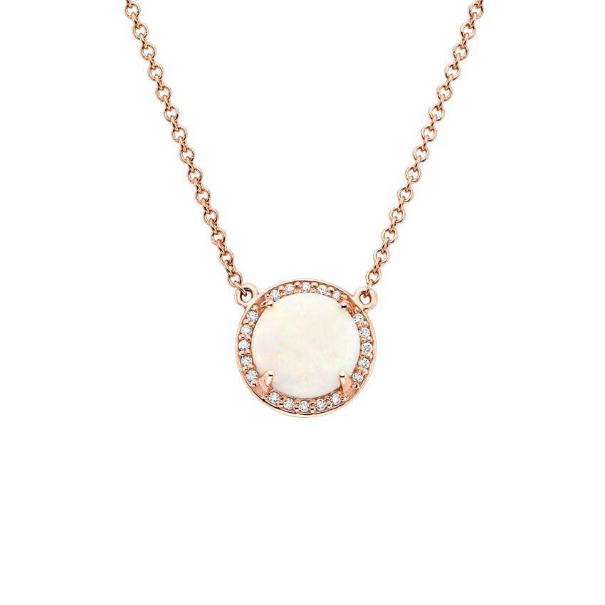 Opal Halo Diamond Necklace
