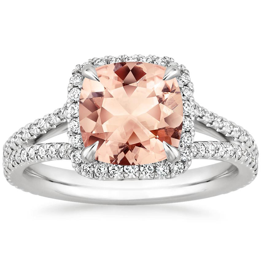 Morganite Fortuna Ring in 18K White Gold