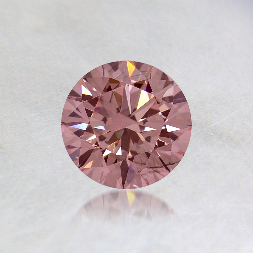 0.57 ct. Lab Created Fancy Pink Round Diamond, top view