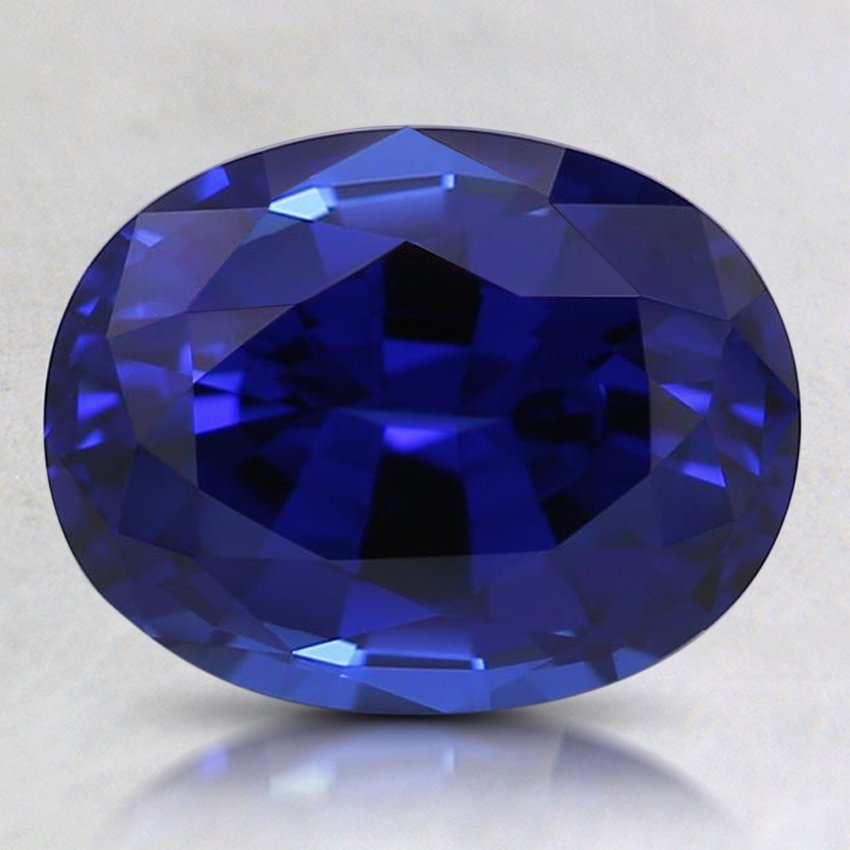 9x7mm Lab Created Blue Oval Sapphire, top view