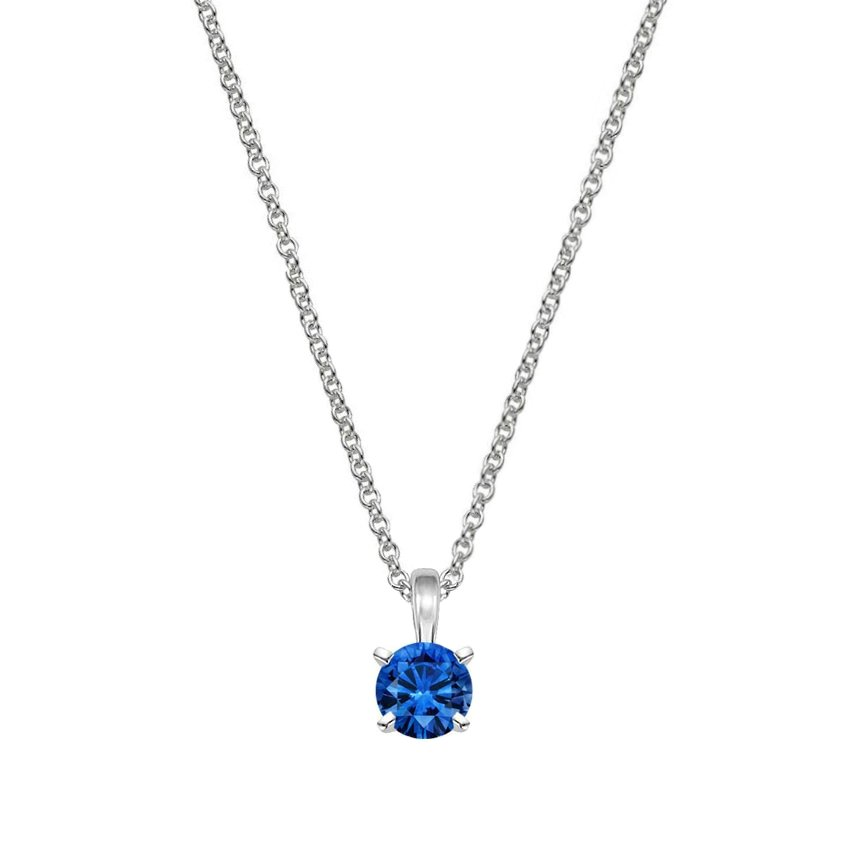zircon saphire necklaces new pendants crystal charming products sterling kit sapphire cz blue for pendant necklace the clubs silver women filled