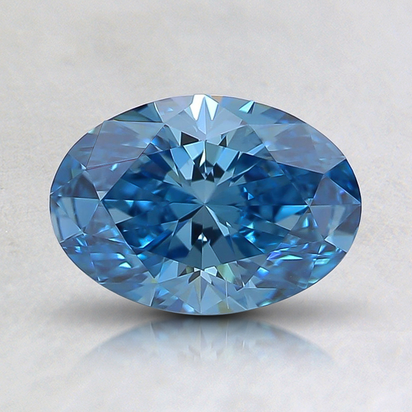 0.86 Ct. Fancy Intense Greenish Blue Oval Lab Created Diamond