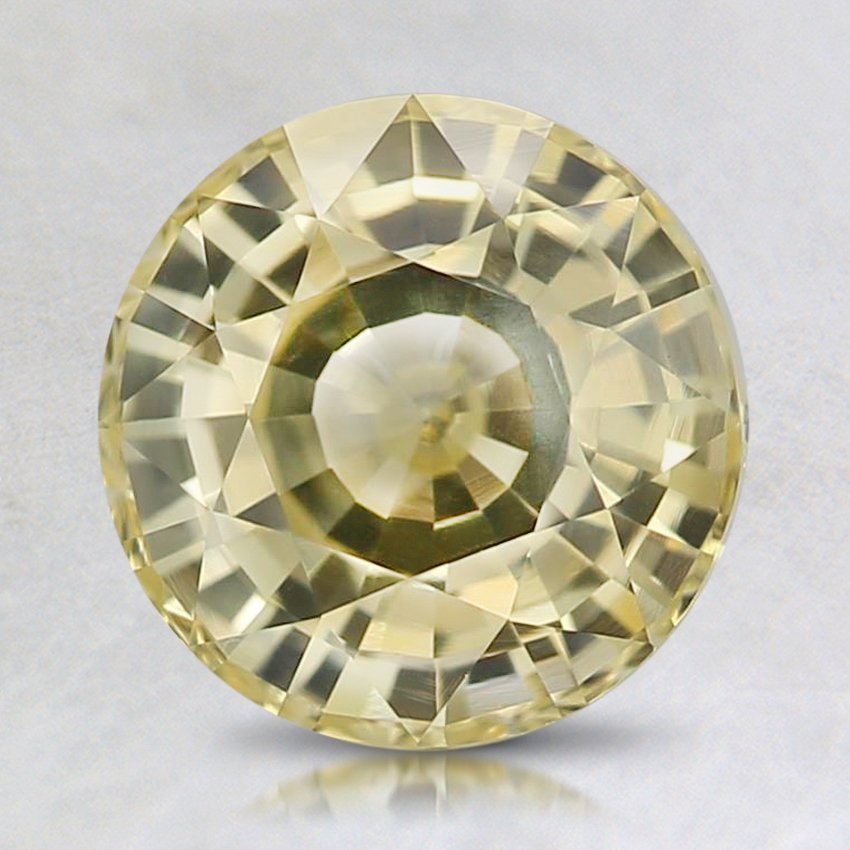 7.7mm Yellow Round Sapphire, top view