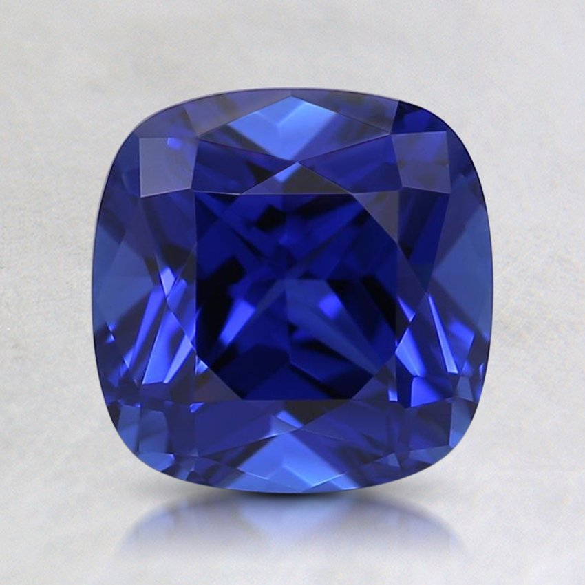 7mm Lab Created Blue Cushion Sapphire, top view