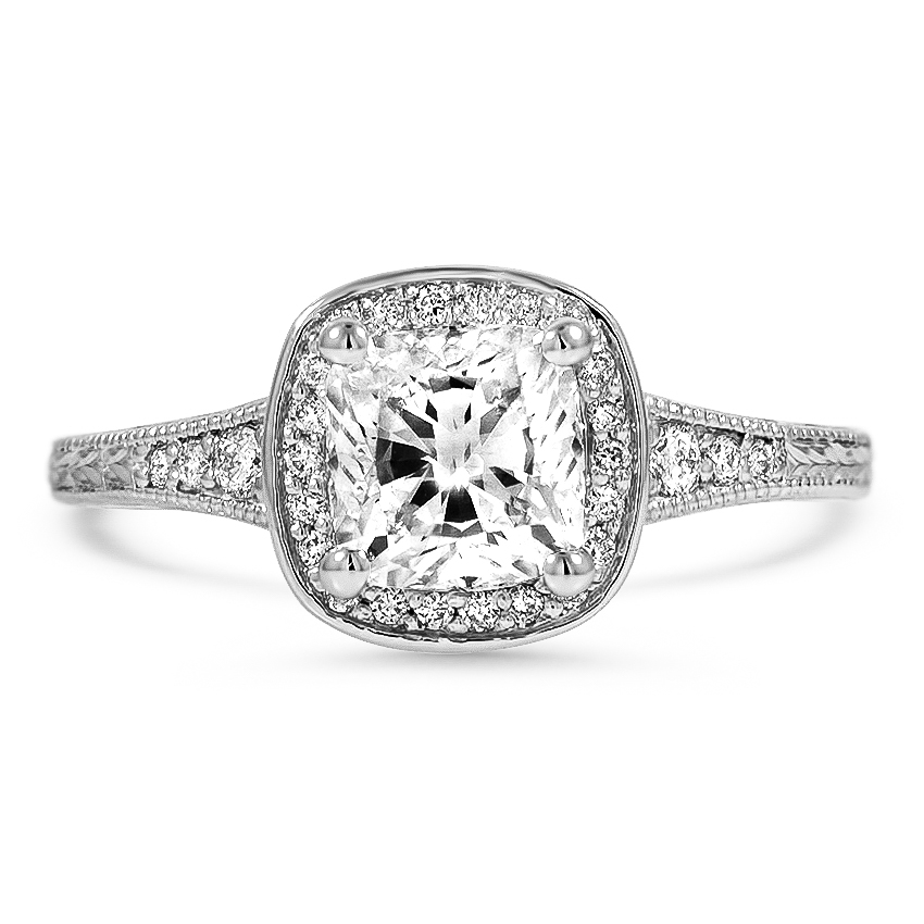 Custom Vintage-Style Halo Diamond Ring