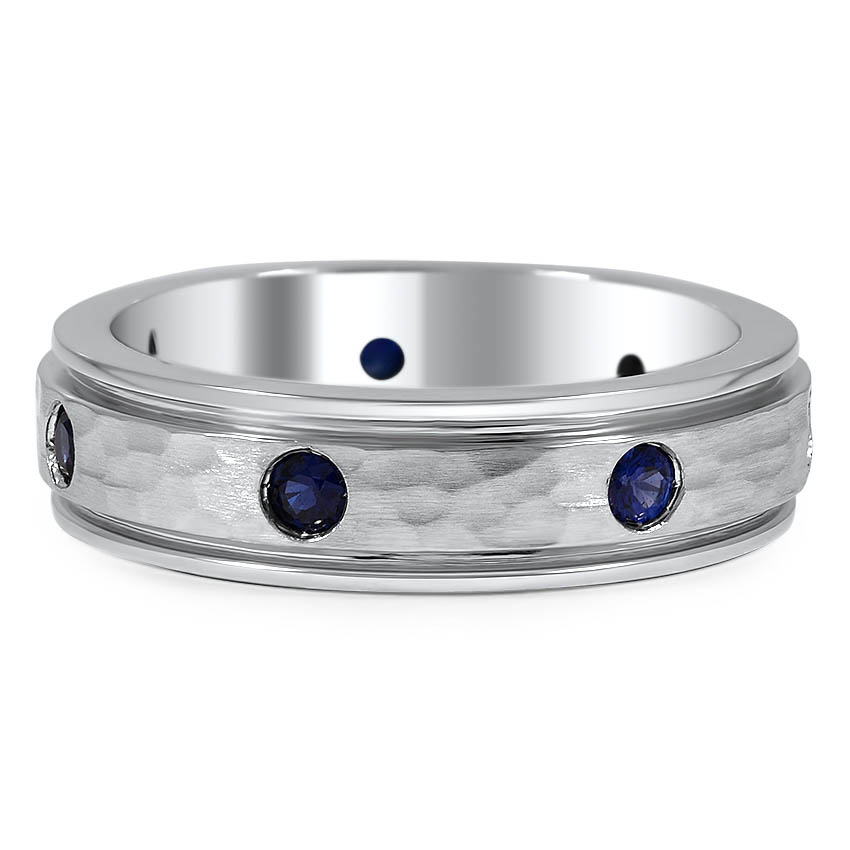 Custom Hammered Band with Flush Set Blue Sapphires