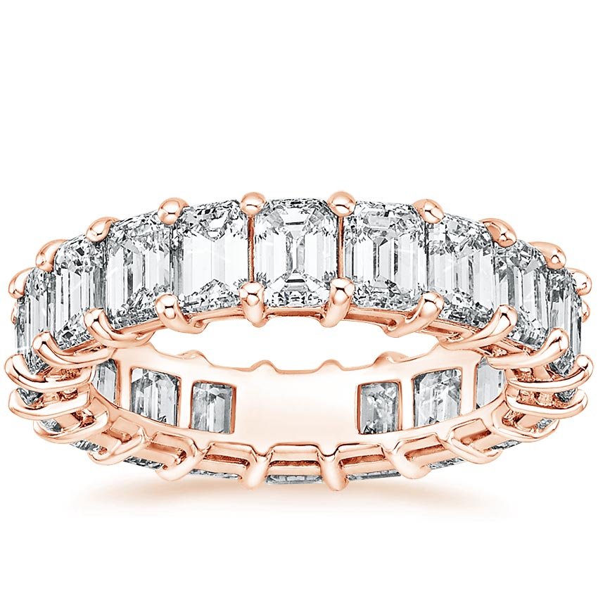 Rose Gold Emerald Eternity Diamond Ring (6 ct. tw.)