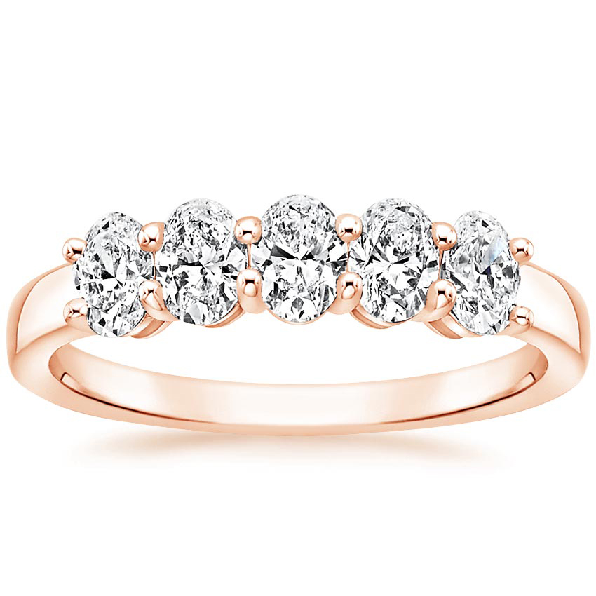 Rose Gold Oval Five Stone Diamond Ring (1 ct. tw.)
