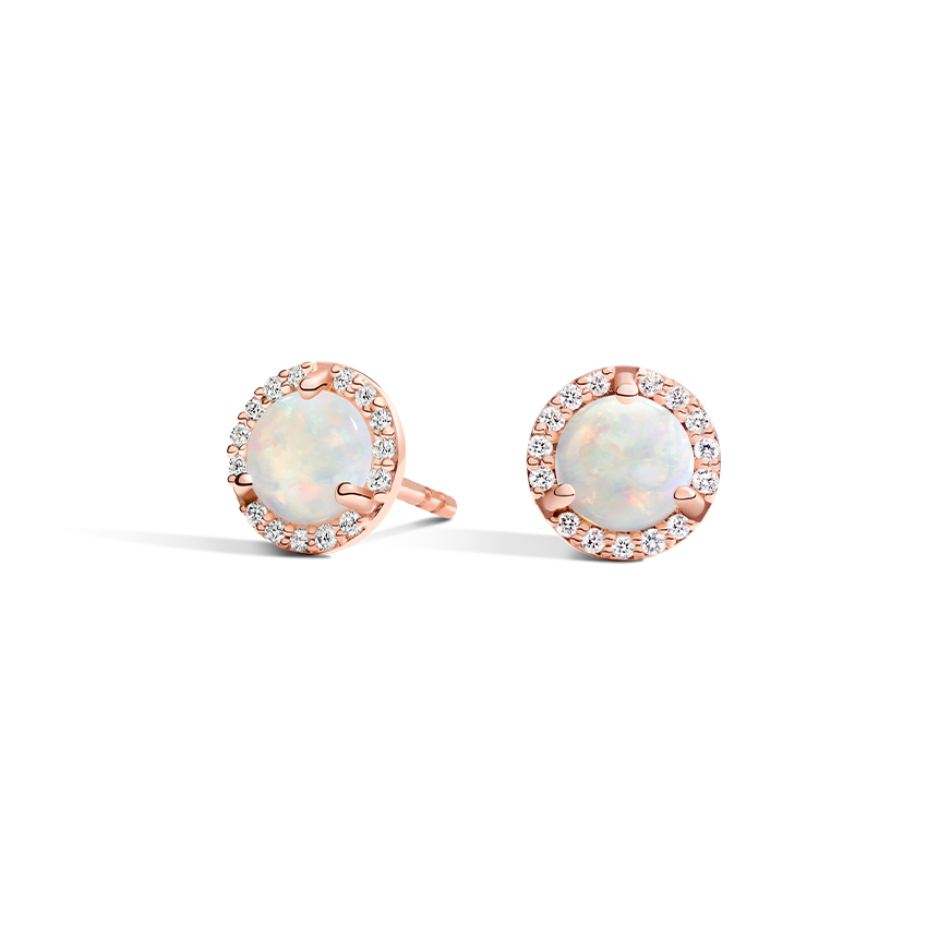 Opal Halo Diamond Earrings