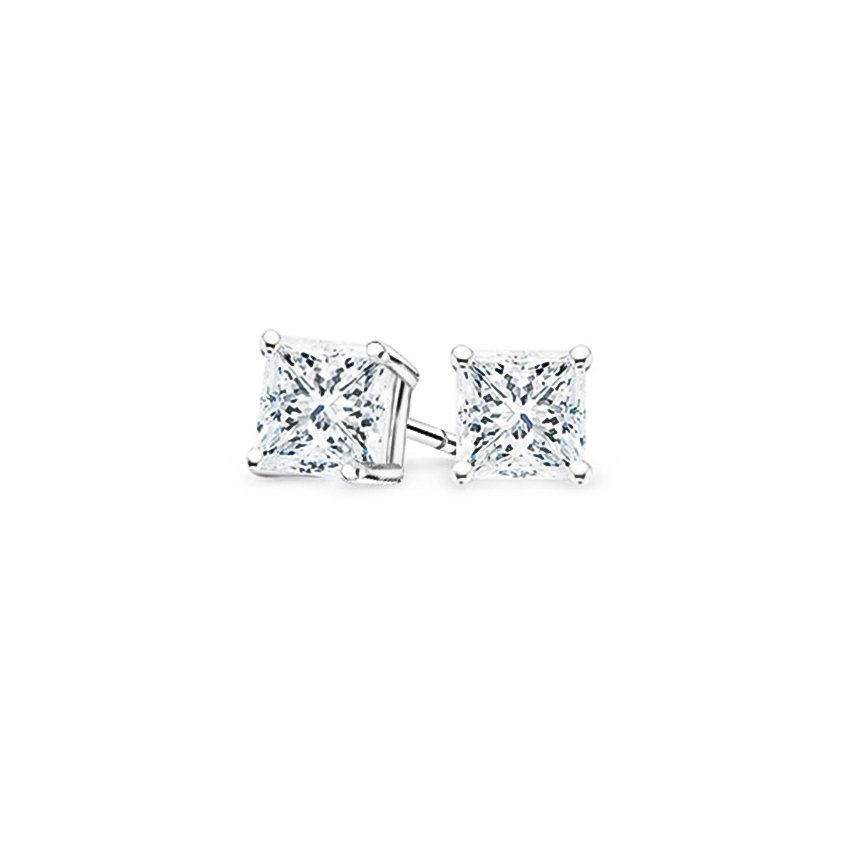 Platinum Four-prong Princess Diamond Stud Earrings, top view