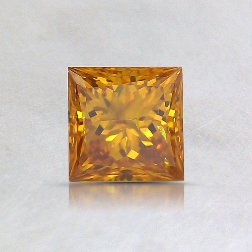 0.51 Ct. Fancy Vivid Orangy Yellow Princess Lab Created Diamond
