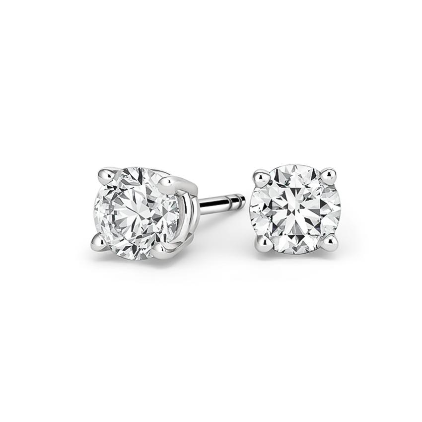 4Ct Round VVS1//D Diamond Push Back Cluster Stud Earrings 18K White Gold Finish