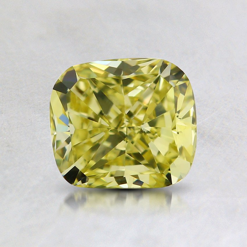 1.00 Ct. Natural Fancy Yellow Cushion Diamond, top view