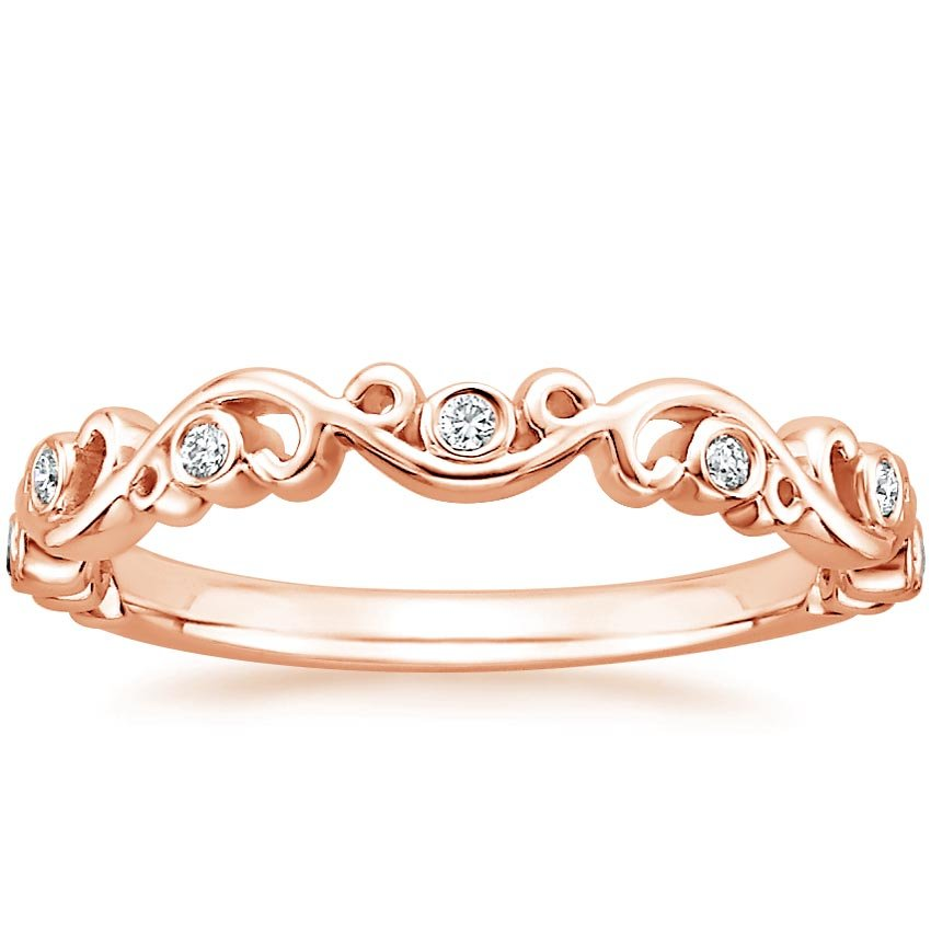 rose gold wedding rings for women scroll ring in 14k gold 7125