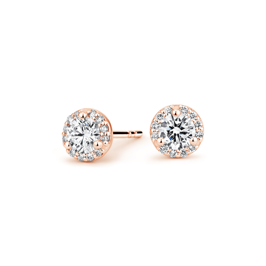 Diamond Halo Earrings (5/8 ct. tw.) in 14K Rose Gold