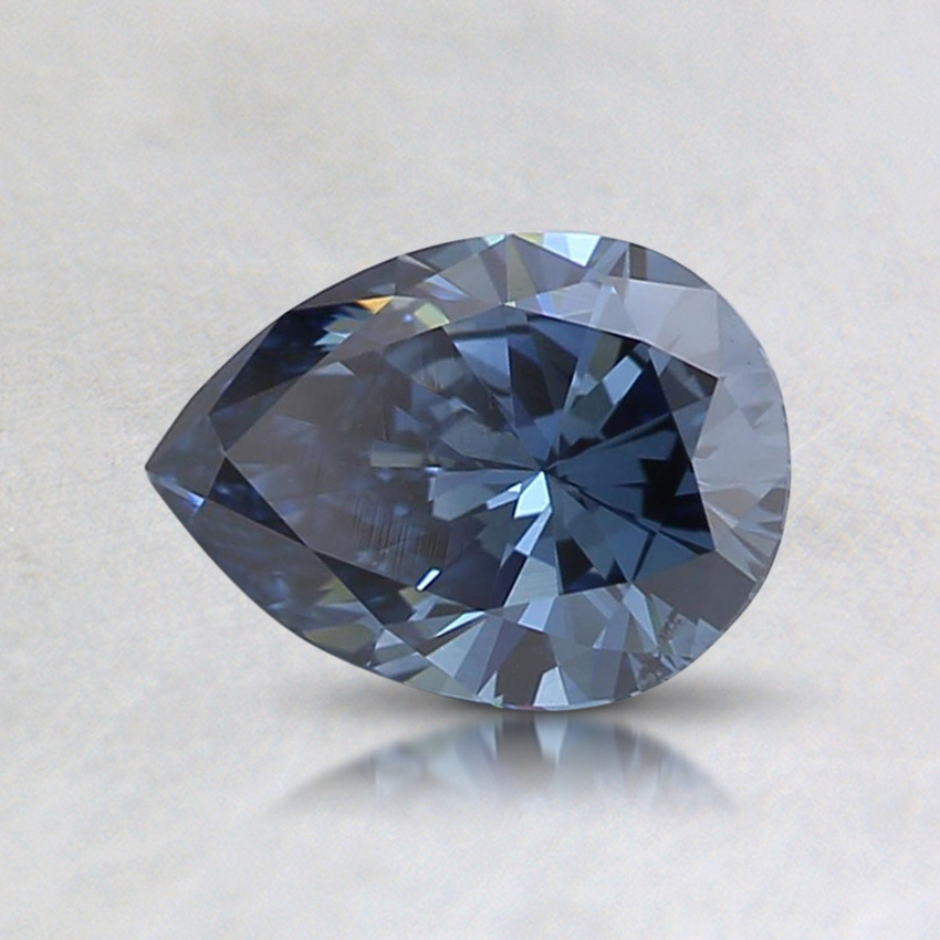 0.66 ct. Lab Created Fancy Vivid Blue Pear Diamond, top view