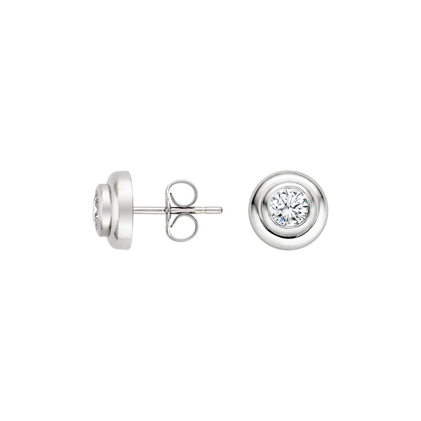 18K White Gold Wide Bezel Diamond Studs (1/2 ct. tw.), top view