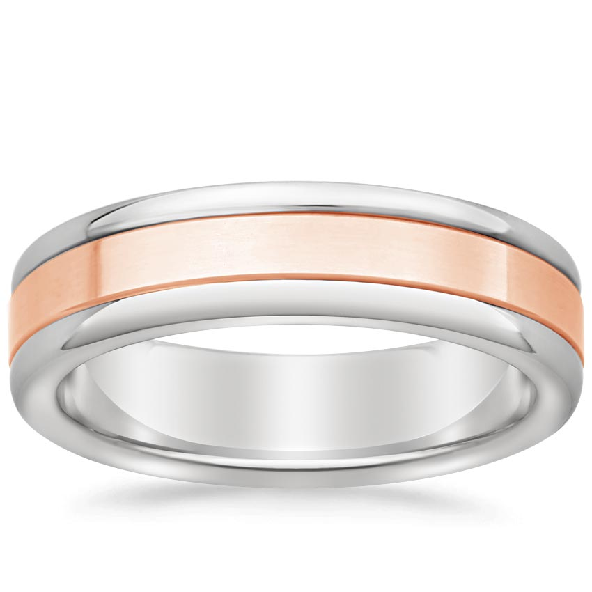 Rose Gold Gold and Tungsten Wedding Ring