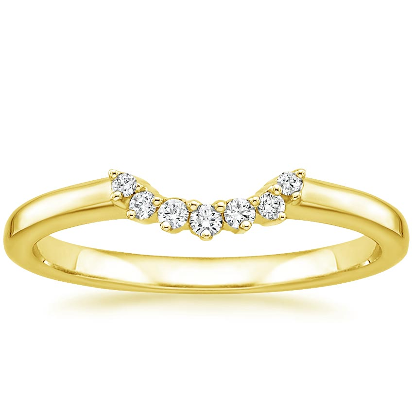 Yellow Gold Crescent Wedding Band