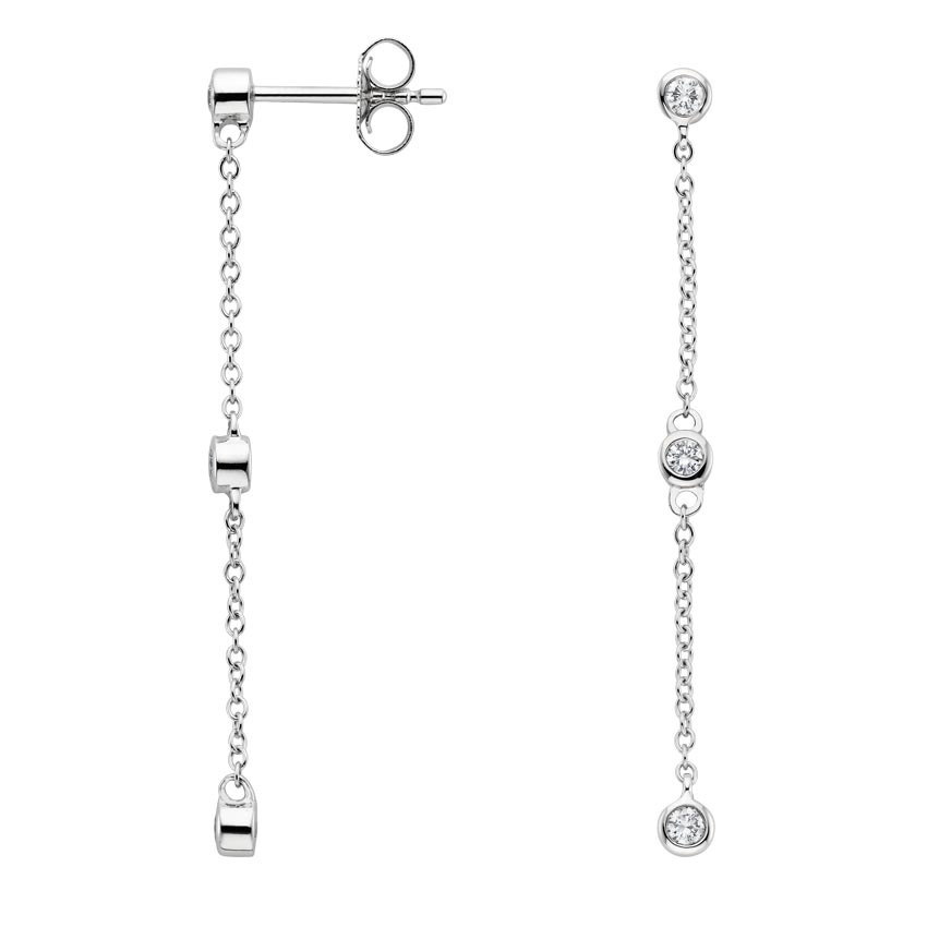 Bezel Diamond Drop Earrings in 18K White Gold