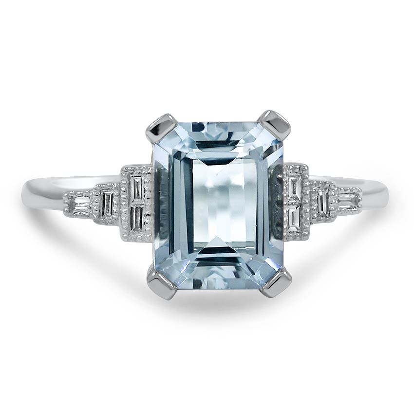 Custom Aquamarine And Diamond Baguette Ring Brilliant Earth