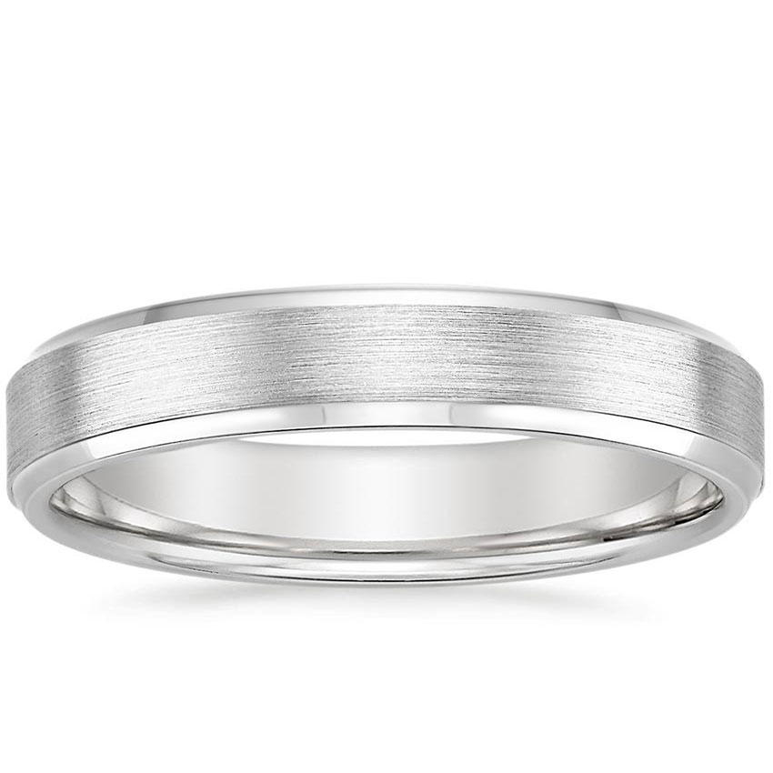 4mm Beveled Edge Matte Wedding Ring in 18K White Gold