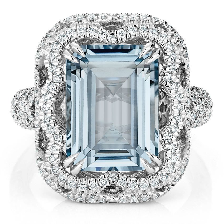 Modern Reproduction Aquamarine Cocktail Ring