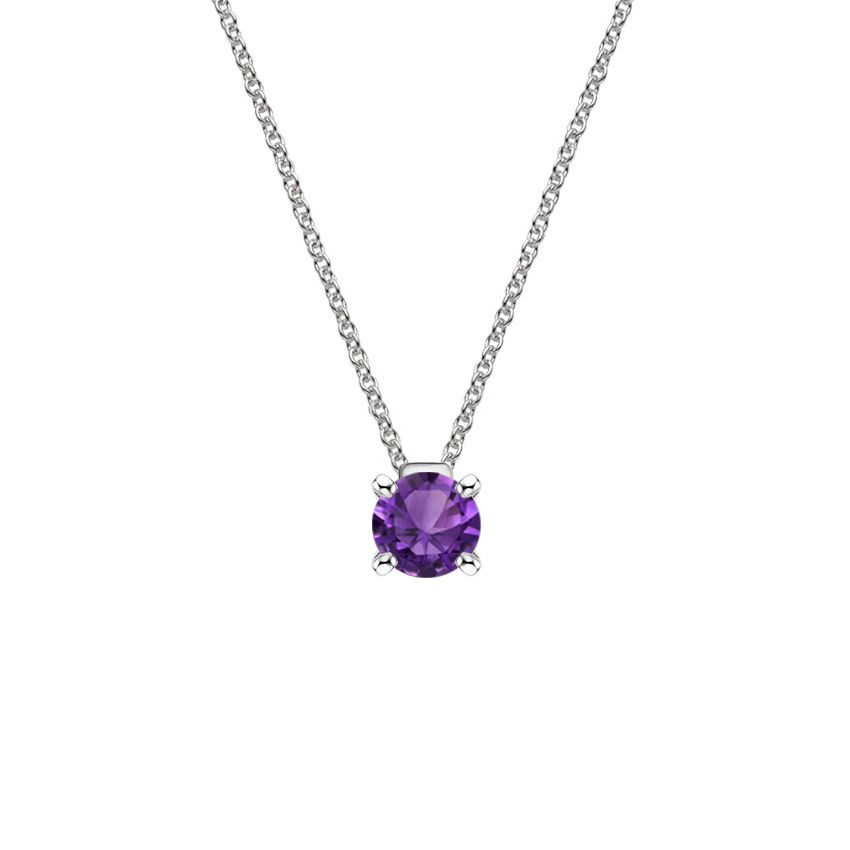 Floating Solitaire Amethyst Pendant