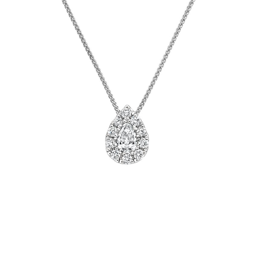 Pear Lab Created Diamond Halo Pendant