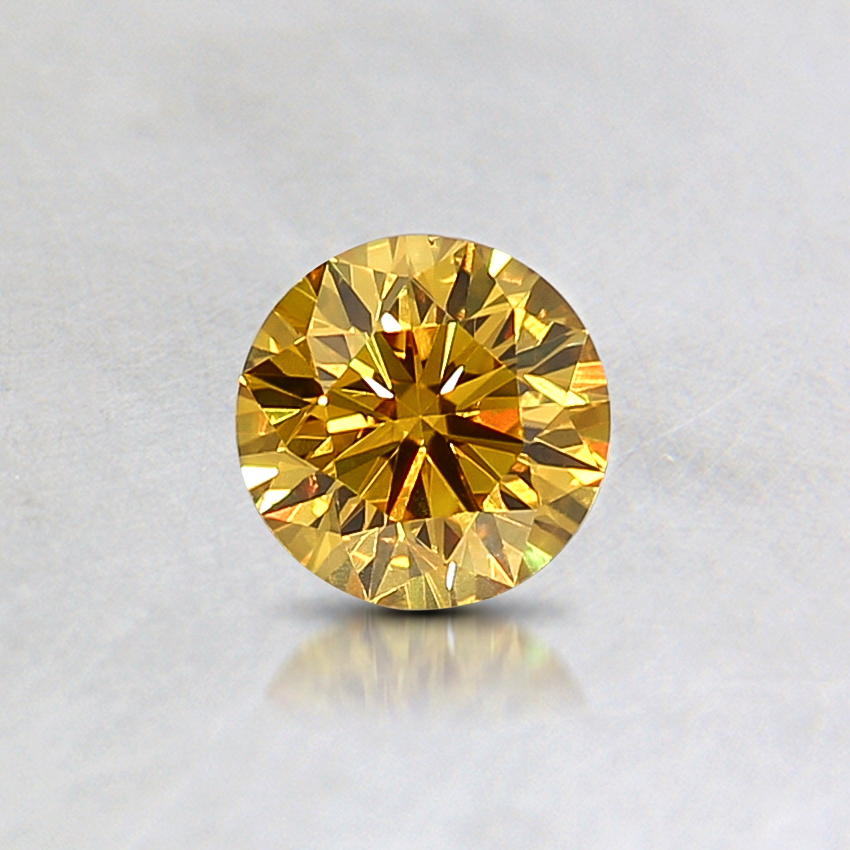 0.30 Ct. Natural Fancy Intense Yellow Round Diamond