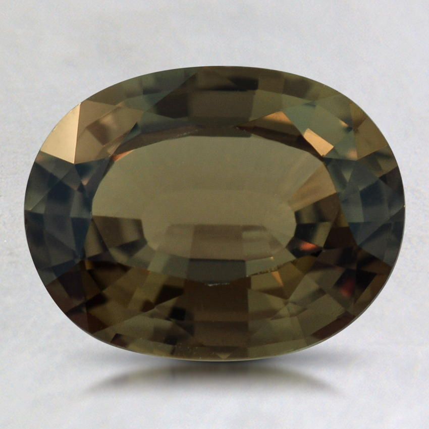 9x7mm Unheated Green Oval Sapphire, top view