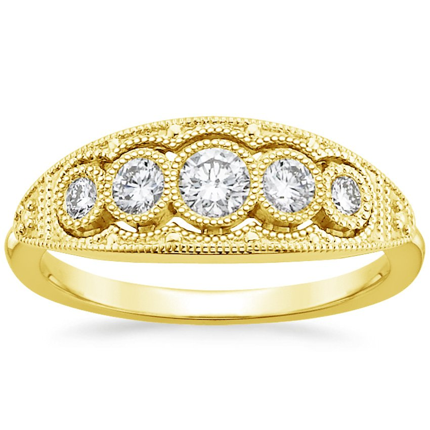 18K Yellow Gold Viola Diamond Ring, top view