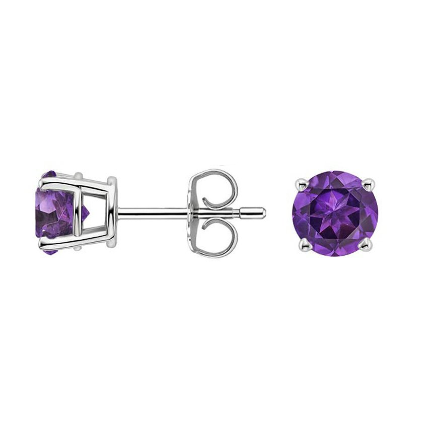 stud silver solid item simple earrings amethyst design round sterling natural