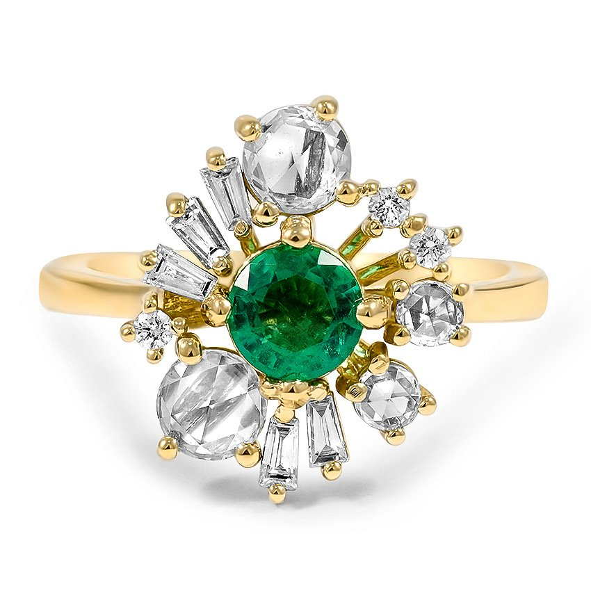 Top Twenty Custom Rings - EMERALD AND ROSE CUT DIAMOND ANTIQUE INSPIRED RING