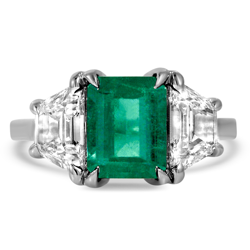 Custom Emerald Three Stone Trapezoid Diamond Ring