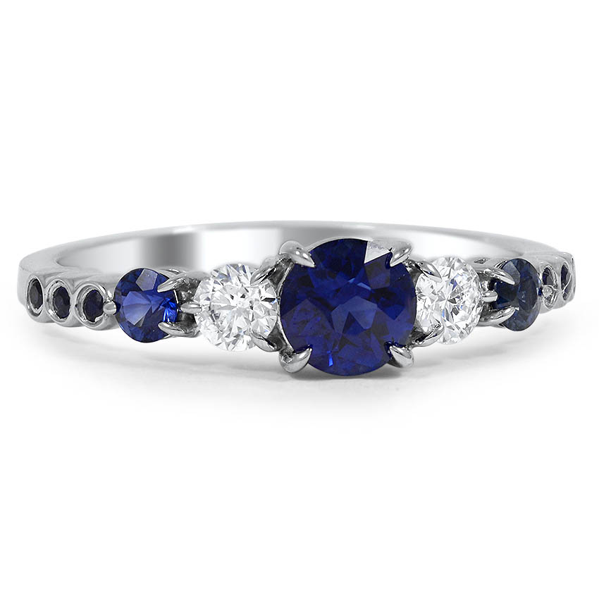 Custom Delicate Claw Prong Diamond and Sapphire Ring